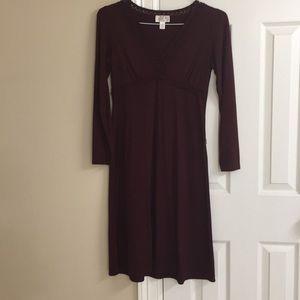 Maroon long sleeve casual dress